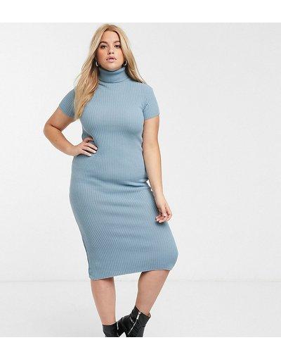 Blu donna Vestito a maniche corte in maglia blu con collo alto - In The Style x Billie Faiers Plus