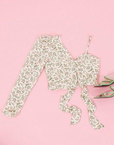 Camicia Multicolore donna Top monospalla allacciato con maniche a sbuffo bianco a fiorellini - In The Style x Billie Faiers - Multicolore