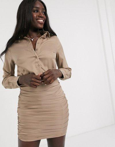 Crema donna Vestito camicia con gonna con arricciature beige - In The Style x Billie Faiers - Crema