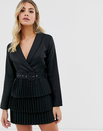 Nero donna Vestito blazer nero con scollo profondo e gonna a pieghe - In The Style x Dani Dyer