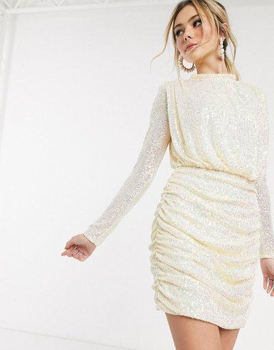 Rosa donna Vestito corto accollato aperto sul retro con ruches in paillettes crema - In The Style x Fashion Influx - Rosa