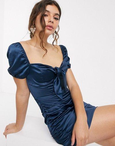 Navy donna Vestito corto arricciato blu navy con allacciatura frontale - In The Style x Fashion - Influx
