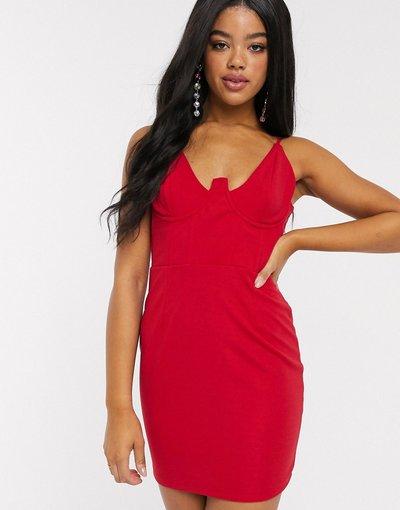 Rosso donna Vestito corto rosso con corsetto accentuato - In The Style x Fashion Influx
