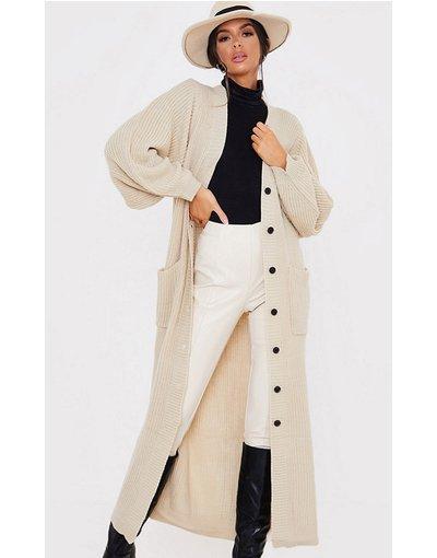 Cuoio donna Cardigan lungo color cammello - In The Style x Lorna Luxe - Cuoio