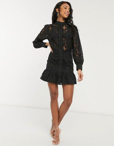 Nero donna Vestito corto con maniche a sbuffo in pizzo nero con stampa geometrica - In The Style x Lorna Luxe
