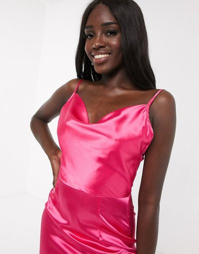 Rosa donna Vestito midi con scollo ad anello in raso rosa vivo - In The Style x Meggan Grubb