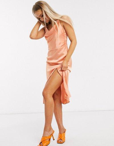Rosa donna Vestito midi con spalline sottili e fascette sul retro in raso corallo - In The Style x Meggan Grubb - Rosa