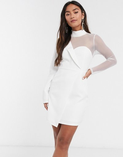 Bianco donna Vestito corto sartoriale a rete asimmetrico bianco - In The Style x Saffron Barker