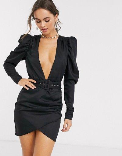 Bianco donna Vestito a portafoglio nero con maniche a sbuffo scollo profondo e cintura - In The Style x Stephsa - Bianco