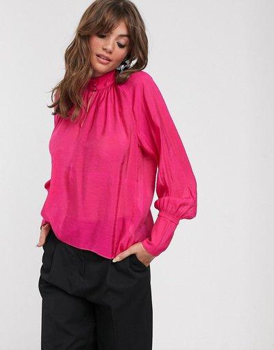 Camicia Rosa donna Blusa accollata drappeggiata - Cordelia - In Wear - Rosa