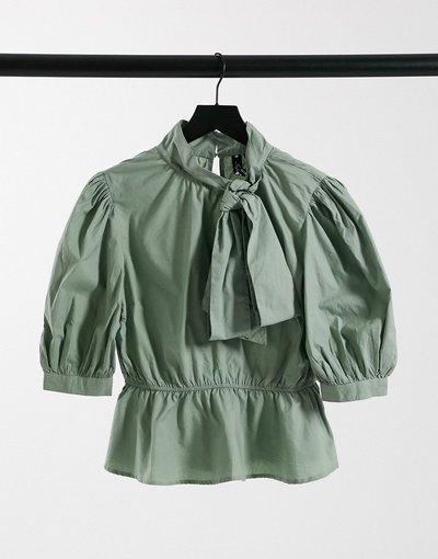 Camicia Verde donna Blusa in popeline di cotone verde salvia con fiocco sul collo - Influence