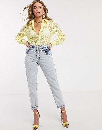 Camicia Giallo donna Blusa oversize gialla in pizzo con maniche a palloncino - Ivyrevel - Giallo