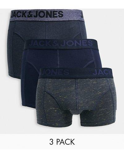 Intimo Grigio uomo Confezione da 3 boxer aderenti blu navy e grigi - Jack&Jones - Grigio