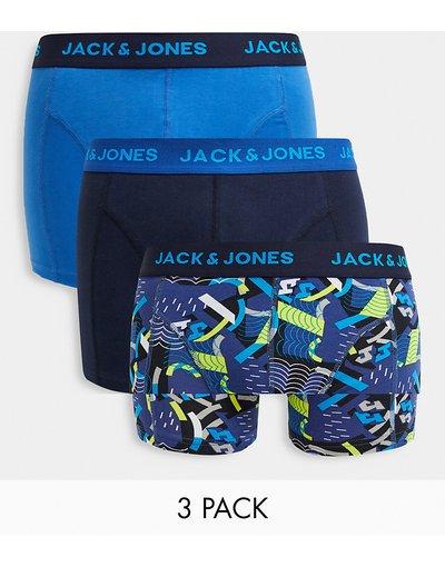 Intimo Multicolore uomo Confezione da 3 paia di boxer aderenti blu - Jack&Jones - Multicolore