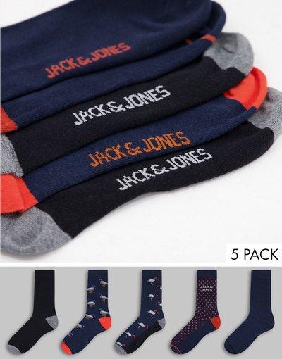Intimo Blu navy uomo Confezione da 5 paia di calzini con stampa di anatre blu navy - Jack&Jones