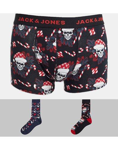 Calze Nero uomo Confezione regalo natalizia con boxer aderenti e calzini con stampa di teschi - Jack&Jones - Nero