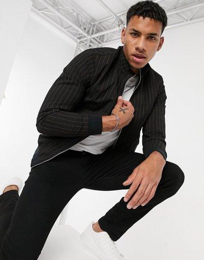 Nero uomo Giacca Harrington elegante in jersey nero gessato - Jack&Jones Intelligence