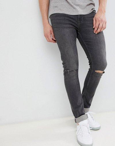 Jeans Grigio uomo Jeans skinny grigio scuro con strappi sulle ginocchia - Jack&Jones Intelligence