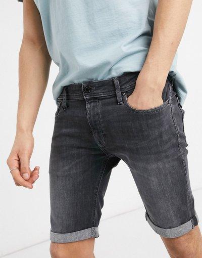 Jeans Nero uomo Pantaloncini di jeans skinny nero slavato con abrasioni - Jack&Jones Intelligence