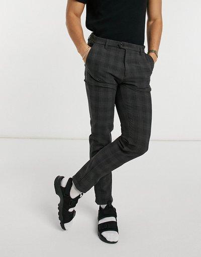 Grigio uomo Pantaloni a quadri eleganti grigi - Jack&Jones Intelligence - Grigio