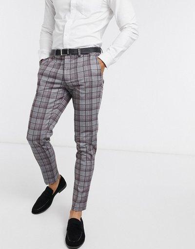 Grigio uomo Pantaloni a quadri grigi e bordeaux - Intelligence - Jack&Jones - Grigio