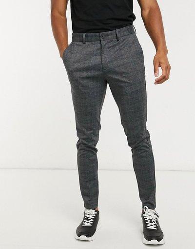 Pantalone Grigio uomo Pantaloni slim in jersey grigio scuro a quadri - Jack&Jones Intelligence