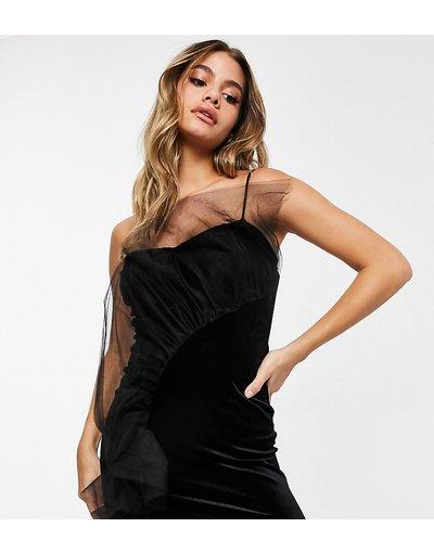 Nero donna Vestito corto in velluto nero con volant in tulle - In esclusiva - Jaded Rose