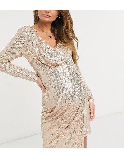 Maternita Oro donna Vestito corto drappeggiato a portafoglio oro rosa a maniche lunghe - Jaded Rose Maternity