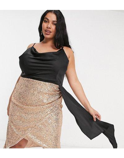Oro donna 1 drappeggiato con scollo ad anello e gonna oro rosa con paillettes - Jaded Rose Plus - Vestito corto 2 - in