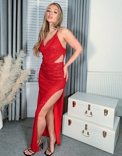 Eleganti lunghi Rosso donna Vestito al polpaccio con scollo ad anello e cut - out rosso acceso con paillettes - Jaded Rose