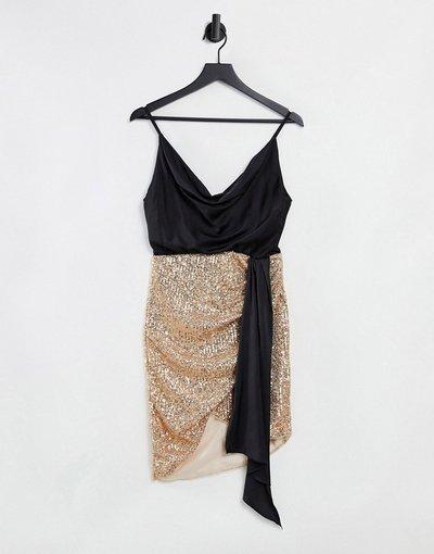 Oro donna Vestito avvolgente 2 in 2 con paillettes e scollo ad anello in raso, colore oro rosa - Jaded Rose