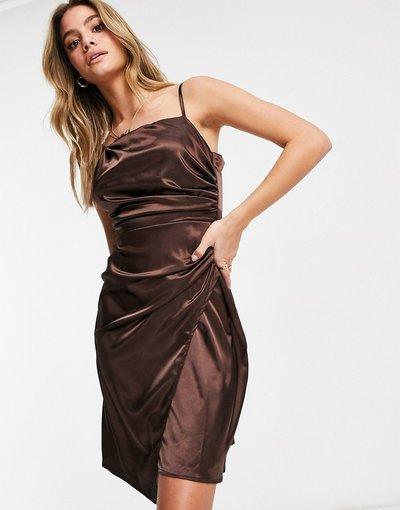 Marrone donna Vestito avvolgente asimmetrico con gonna al polpaccio in raso marrone cioccolato - Jaded Rose