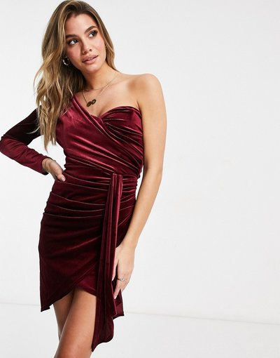 Rosso donna Vestito corto drappeggiato monospalla in velluto bordeaux - Jaded Rose - Rosso