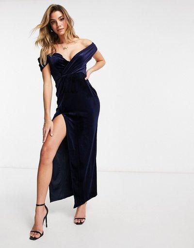 Blu navy donna Vestito lungo con spalle scoperte e spacco sulla coscia in velluto blu navy - Jaded Rose