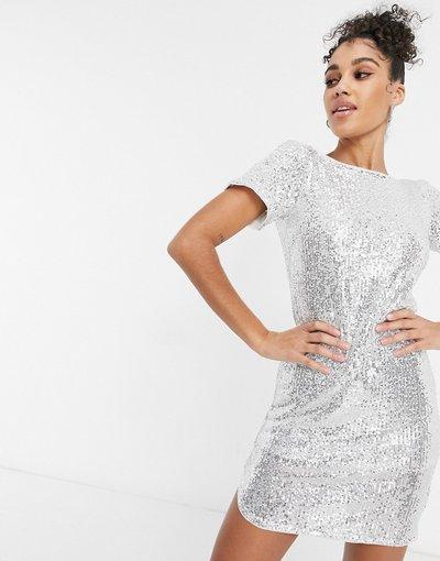Argento donna shirt corto con paillettes argento - Jaded Rose - Vestito t