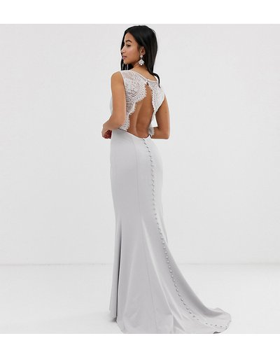 Argento donna Vestito lungo argento grigio con schiena scoperta, pizzo e strascico - Jarlo Petite