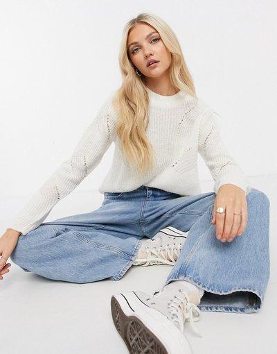 Crema donna Maglione bianco a maniche lunghe in maglina con dettagli - Crema - JDY