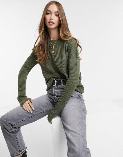 Verde donna Maglione oversize a costine con collo alto kaki - Verde - JDY