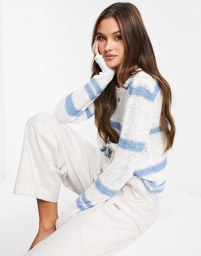 Maglione alla moda Blu donna Maglione lavorato a righe crema e blu - Michelle - JDY