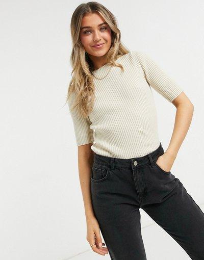 Beige donna shirt in maglia a maniche corte beige - Pernille - JDY - T