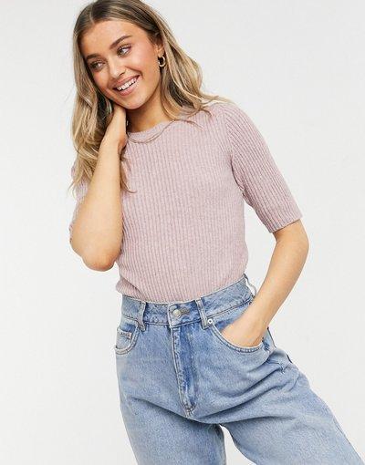 Rosa donna shirt in maglia a maniche corte malva - Pernille - JDY - Rosa - T
