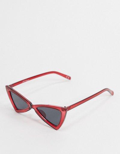 Occhiali Rosso uomo Occhiali da sole cat - eye angolari rossi - Jeepers Peepers - Rosso