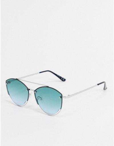 Occhiali Argento uomo Occhiali da sole rotondi argento con cut - Jeepers Peepers - out sulle lenti