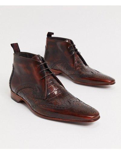 Scarpa elegante Marrone uomo Stivaletti stringati marrone coccodrillo - Jeffery West - Escobar