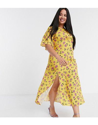 Giallo donna Vestito midi con maniche svasate e stampa a fiori giallo - John Zack Plus