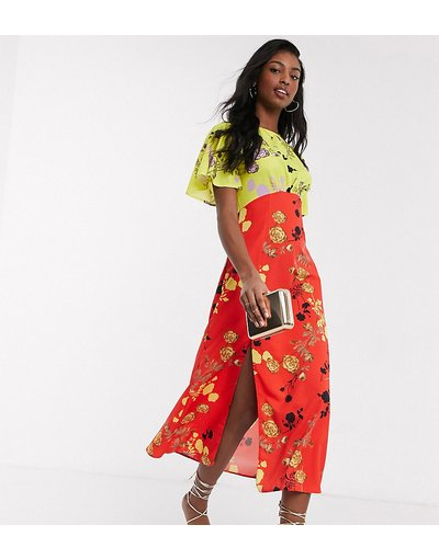 Eleganti pantaloni Multicolore donna Vestito al polpaccio a fiori multicolori - John Zack Tall - Multicolore