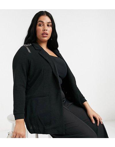 Nero donna Blazer nero con spalle decorate - Junarose