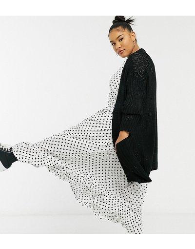Nero donna Cardigan lavorato a maglia con tasche nero - Junarose