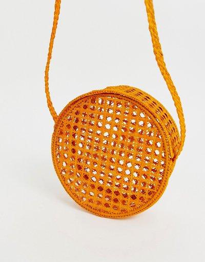 Borsa Arancione donna Borsa a tracolla rotonda in rafia intrecciata a rete arancione - KAANAS
