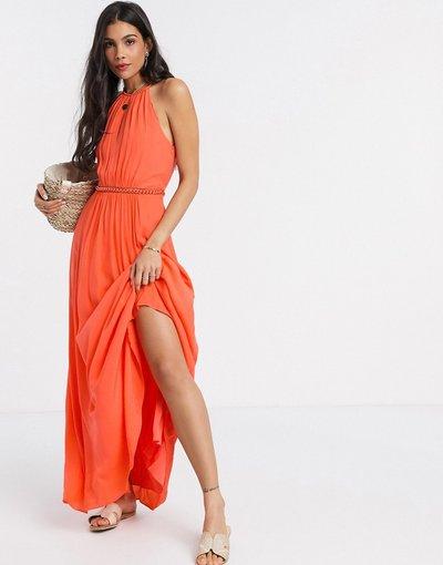 Arancione donna Vestito midi a pieghe corallo - Karen Millen - Arancione